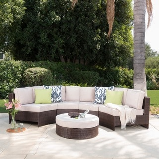 Christopher Knight Home Madras Tortuga Outdoor Wicker 8-piece Sectional Set with Ottoman
