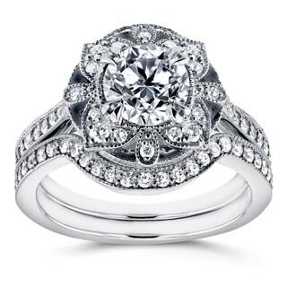 Annello by Kobelli 14k White Gold 1 1/2ct TDW Diamond 2-Piece Floral Antique Bridal Set