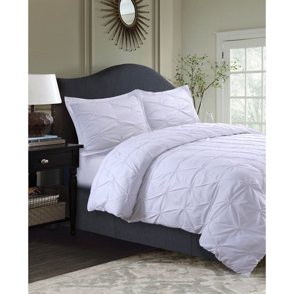 sydney oversized 3 piece pintuck duvet cover set free shipping on orders over 45 overstock. Black Bedroom Furniture Sets. Home Design Ideas