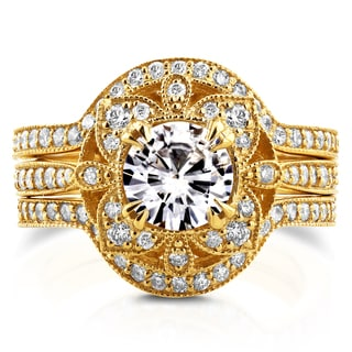 Annello 14k Yellow Gold Round Moissanite and 5/8ct TDW Diamond 3-Piece Floral Antique Bridal Set (G-H, I1-I2)