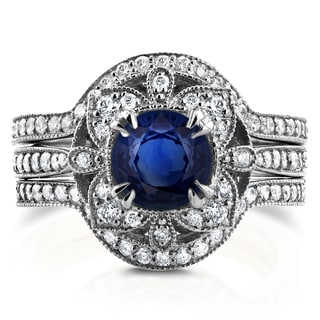 Annello by Kobelli 14k White Gold 1 7/8ct TCW Sapphire and Diamond 3-Piece Floral Antique Bridal Set