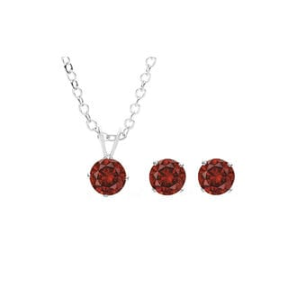 Sterling Silver Overlay Red Austrian Crystal Solitaire Necklace and Stud Earring Set