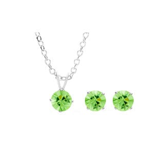 Sterling Silver Overlay Green Austrian Crystal Solitaire Necklace and Stud Earring Set