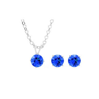Sterling Silver Overlay Royal Blue Austrian Crystal Solitaire Necklace and Stud Earring Set