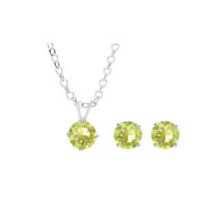 Sterling Silver Overlay Yellow Austrian Crystal Solitaire Necklace and Stud Earring Set