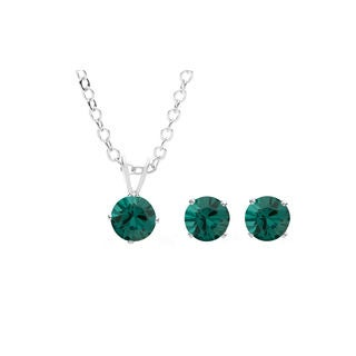Sterling Silver Overlay Dark Green Austrian Crystal Solitaire Necklace and Stud Earring Set