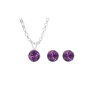 Sterling Silver Overlay Purple Austrian Crystal Solitaire Necklace and Stud Earring Set
