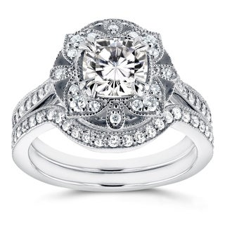 Annello 14k White Gold Cushion Moissanite and 1/2ct TDW Diamond 2-Piece Floral Antique Bridal Set (G-H, I1-I2)