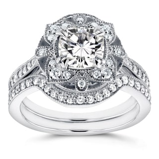 Annello By Kobelli 14k White Gold Cushion Moissanite And 1 2ct TDW Diamond 2 Piece Floral Antique Bridal Set