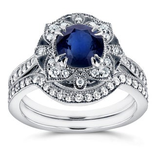 Annello by Kobelli 14k White Gold 1 3/4ct TCW Sapphire and Diamond 2-Piece Floral Antique Bridal Set