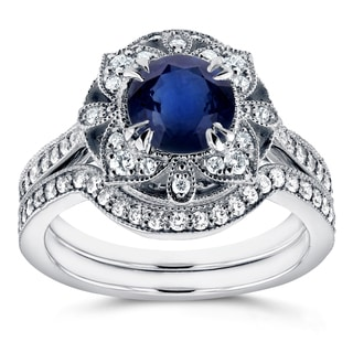 Annello By Kobelli 14k White Gold 1 3 4ct TCW Sapphire And Diamond 2 Piece Floral Antique Bridal Set