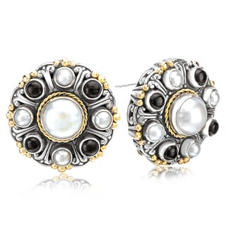 Avanti Sterling Silver and 18K Yellow Gold Pearl and Black Onyx Button Earrings