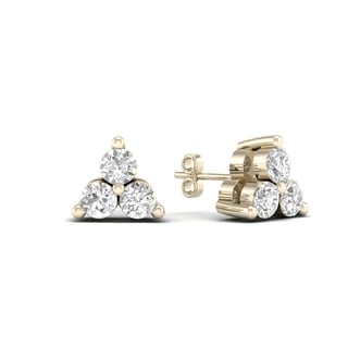 De Couer 10k Yellow Gold 1/6ct TDW Diamond Three Stone Stud Earrings (H-I,I2)