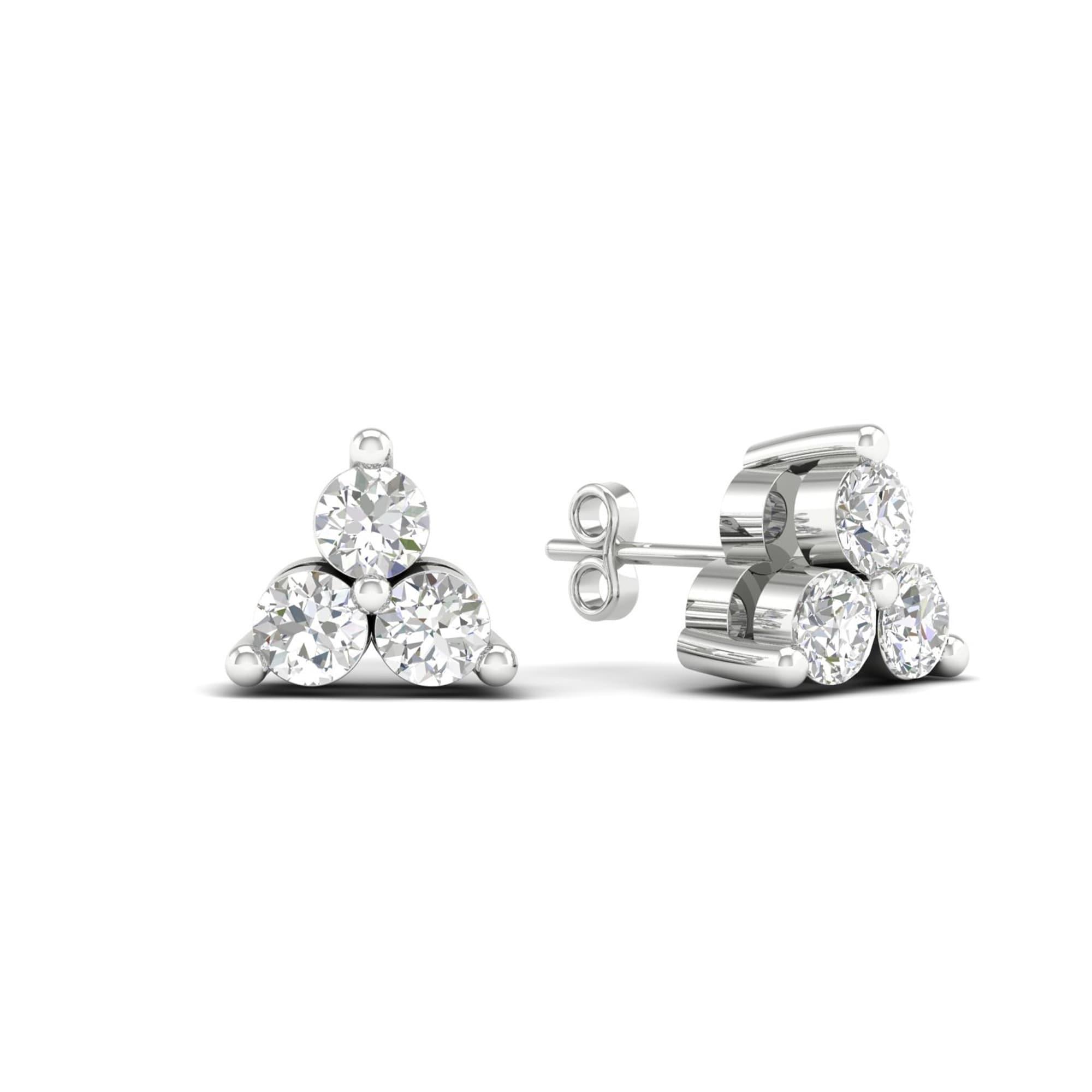 De Couer 10k White Gold 1/6ct TDW Diamond Three Stone Stu...