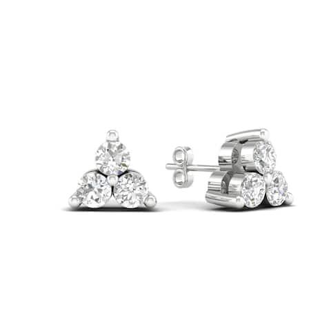 De Couer IGI Certified 10k White Gold 1/4ct TDW Diamond Three Stone Stud Earrings - White H-I