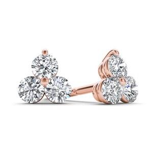 De Couer 10k Rose Gold 1/3ct TDW Diamond Three Stone Stud Earrings (H-I,I2)