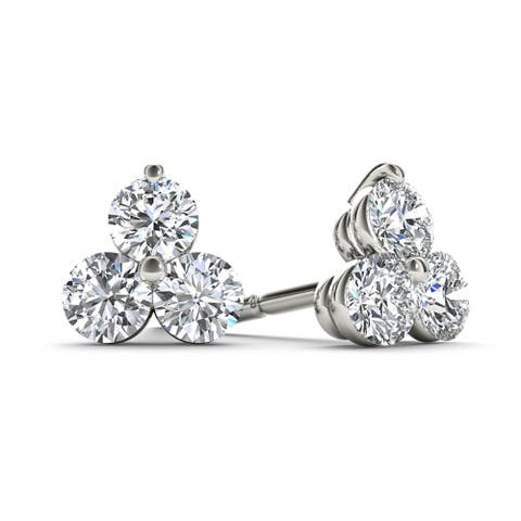 De Couer IGI Certified 10k White Gold 1/2ct TDW Diamond Three Stone Stud Earrings - White H-I