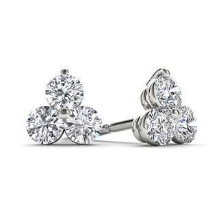 De Couer 10k White Gold 1/2ct TDW Diamond Three Stone Stud Earrings (H-I,I2)