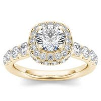 De Couer 14K Yellow Gold 1 3/4ct TDW Halo Engagement Ring