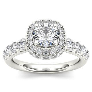 De Couer 14K White Gold 1 3/4ct TDW Halo Engagement Ring - White H-I
