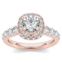 De Couer 14K Rose Gold 1 3/4ct TDW Halo Engagement Ring - Pink