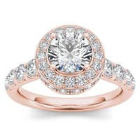 De Couer 14K Rose Gold 1 3/4ct TDW Halo Engagement Ring - Pink
