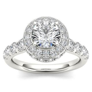 De Couer 14K White Gold 1 3/4ct TDW Halo Engagement Ring