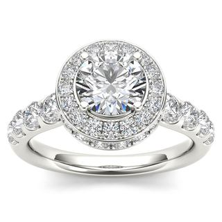 De Couer 14K White Gold 1 3/4ct TDW Halo Engagement Ring - White H-I