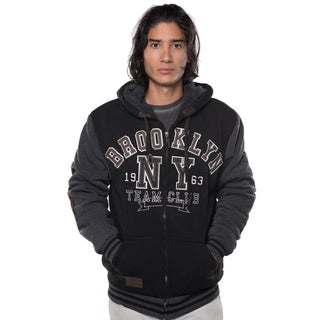 Rock Revolution Men's Polyester Fur-lined Applique Zip-up Jacket with Suede Elbow Patches and Draw String