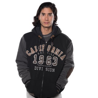 Rock Revolution Men's Fur-lined Zip-up Applique Jacket with Suede Elbow Patches and Draw String Stopper