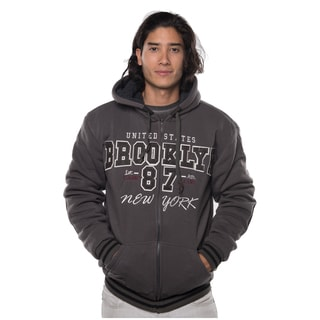 Rock Revolution Men's Polyester Fur-lined Applique Zip-up Jacket with Suede Elbow Patches and Draw String with Stopper