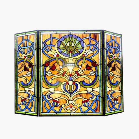 Tiffany-Style Victorian Design 3-panel Fireplace Screen - N/A