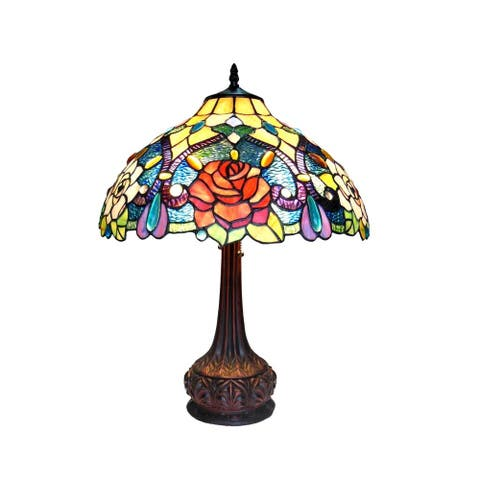 Tiffany Style Floral Antique Bronze 2-light Table Lamp
