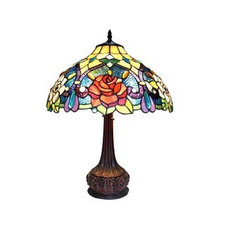 Chloe Tiffany Style Victorian/Floral Design 2-light Antique Bronze Table Lamp