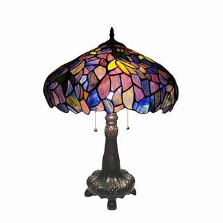 Chloe Tiffany Style Floral Design 2-light Antique Bronze Table Lamp