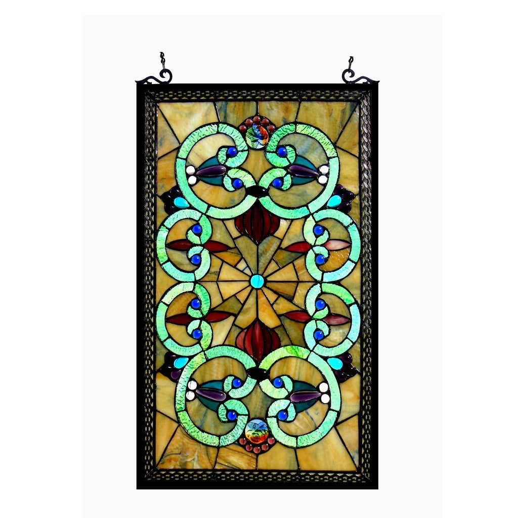 Chloe Tiffany Style Victorian Design Window Panel - M, Mu...
