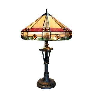 Chloe Tiffany Style Mission Design 2-light Antique Bronze Table Lamp