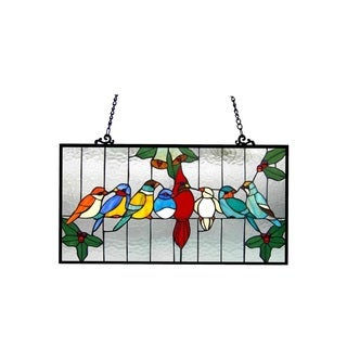 Chloe Tiffany Style Gathering Bird Design Window Panel - M