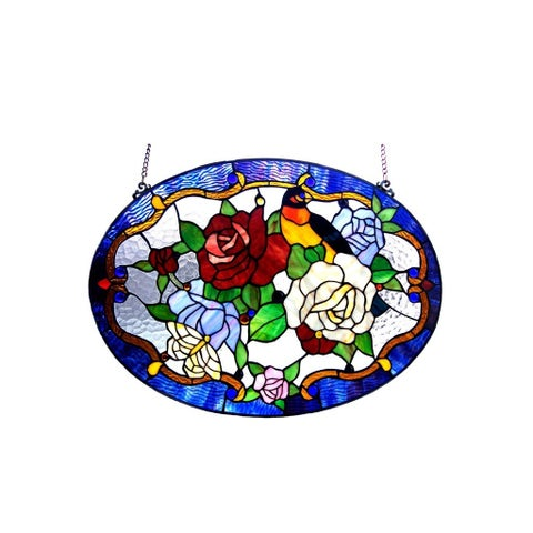 Chloe Tiffany Style Floral/Bird Design Window Panel - M