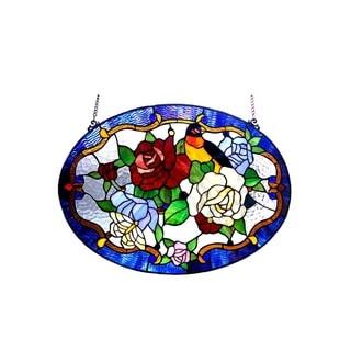 Chloe Tiffany Style Floral/Bird Design Window Panel