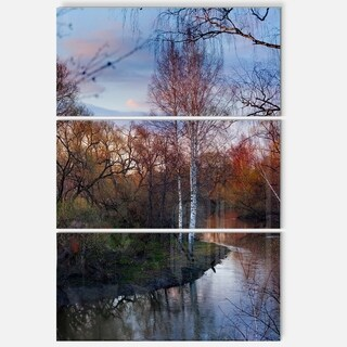 Designart - Forest River in the Spring - Landscape Photo Glossy Metal Wall Art