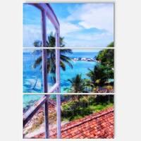 Designart - Light House Window View - Landscape Photo Glossy Metal Wall Art