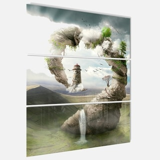 Designart - Magical Bridge to Lighthouse - Landscape Photo Glossy Metal Wall Art