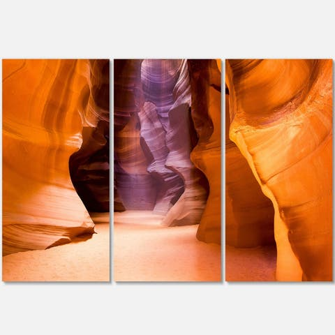 Designart - Upper Antelope Canyon - Landscape Photo Glossy Metal Wall Art - 36 in. wide x 28 in. high - 3 panels