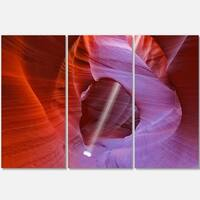 Designart - Red Orange Antelope Canyon - Landscape Photo Glossy Metal Wall Art