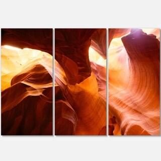 Designart - Yellow Antelope Canyon - Landscape Photo Glossy Metal Wall Art
