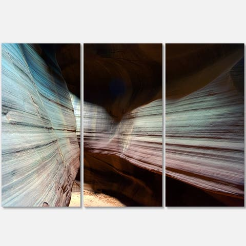Designart - Antelope Canyon Arizona - Landscape Photo Glossy Metal Wall Art - 36 in. wide x 28 in. high - 3 panels