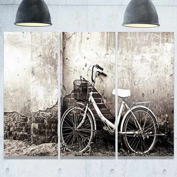 Designart - Old Bicycle and Cracked Wall - Photography Glossy Metal Wall Art - Black - & Shop Designart - Old Bicycle and Cracked Wall - Photography Glossy ...