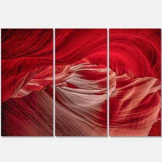 Designart - Red Shade in Antelope Canyon - Landscape Photo Glossy Metal Wall Art