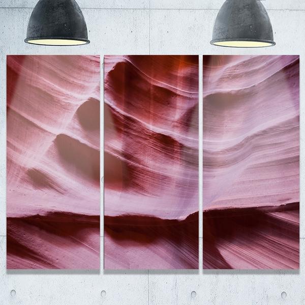 Designart - Upper Antelope Canyon Details - Landscape Photo Glossy Metal Wall Art - 36W x 28H 3 Panel